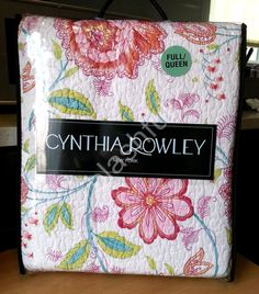 pink orange red yellow large floral cynthia rowley 4pc quilt full
