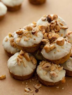White Chocolate Dipped Mini Hazelnut-Pumpkin Muffins -try making pancakes with batter by DJFoodie Pumpkin Recipes, Low Carb Recipes, Real Food Recipes, Cooking Recipes, Paleo Recipes, Low Carb Deserts, Low Carb Sweets, Low Carb Bread, Low Carb Keto