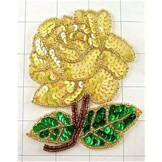 "Rose Yellow Green Sequins and Beads 4.5"" x 4"""