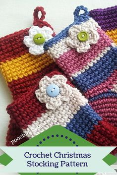 Crochet Christmas Stocking FREE pattern. These are adorable little stockings that can be stitched up quickly. They are great for holding gift cards or adding to your tree as ornaments. http://poochie-baby.com