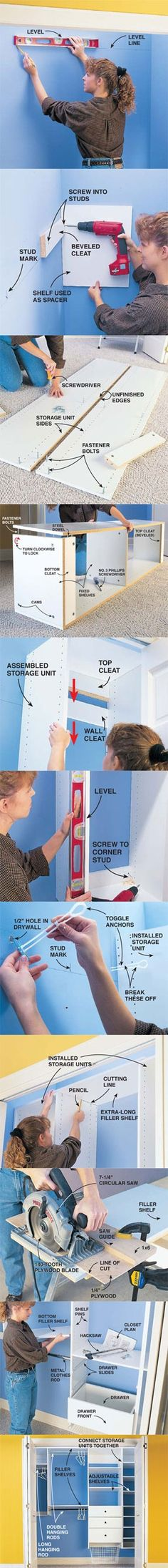 For the cost of a regular dresser, you can install a modular closet organizer and double your storage space with adjustable shelves, drawers and closet rods that look built-in. We'll show you how to build in this weekend at http://www.familyhandyman.com/DIY-Projects/Indoor-Projects/Bedroom/Closet-Organizer/how-to-organize-your-closet-custom-designed-closet-storage/View-All