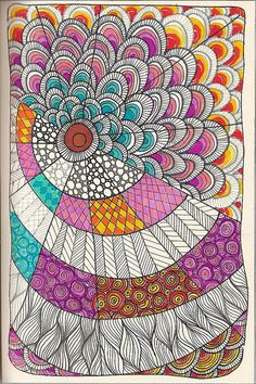 doodle 15 by kraai65, via Flickr Asymmetrical mandala ZenTangle doodle with colors! Yes!