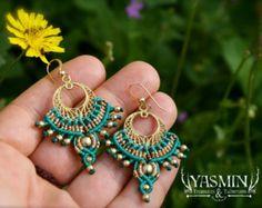 micro macrame large tribal hoop earrings purple by yasminsjewelry
