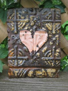 Vintage Ceiling Tile with Heart