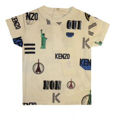 784cf77a Kenzo Kids boys cotton t-shirt is white with Paris and New York print on  the front and back. The t-shirt also has 3 pop buttons.