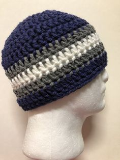 6b0b83d26a0 XL Mens TEEN Crochet Hat Beanie Handmade DALLAS COWBOYS CHUNKY blue gray  WHITE