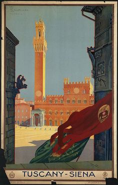 Shop Tuscany Siena Italy Vintage Italian Travel Poster Postcard created by VintageArtPosters.