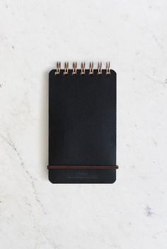 Midori - Grain Leather Notepad - Plain - (7x14cm) - Black