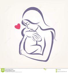 Simbolo Stilizzato Di Vettore Del Bambino E Della Mamma Illustrazione Vettoriale - Immagine: 51786023