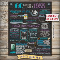 60th Birthday 1955 Chalkboard Poster Sign 60 By PRINTSbyMAdesign Invitations Gifts