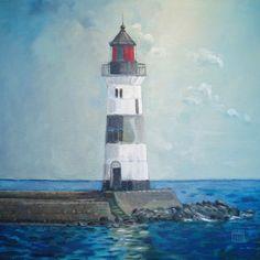 Kunstdruck  Leuchtturm Schleimünde  auf Leinwand, Quadrat, Lotseninsel, Deko