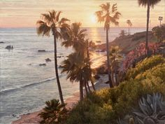 JAY MOORE SUNSET IN LAGUNA oil on linen 30 x 40 in (76.2h x 101.6w cm) $17,000 I had never done a painting looking directly into the sun, but I wanted to capture how the sun actually lit up the humidity in the atmosphere. I thought about how Sanford Gifford was able to pull off the effect.