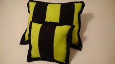black and neon green striped pillow pair, super soft microfiber back, great for brightening up any room!