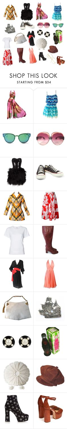 """""""1970s"""" by keymaihkeys13 ❤ liked on Polyvore featuring LMNT, Yves Saint Laurent, Lillie Rubin, Converse, André Laug, CÉLINE, RE/DONE, Adele Simpson, Halston and Gucci"""