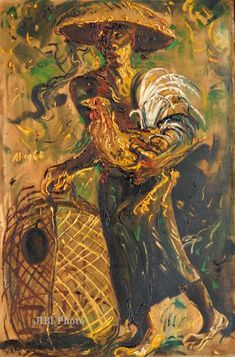 """AFFANDI :""""Bebotoh Ayam (Man With Fighting Cockerel)"""""""
