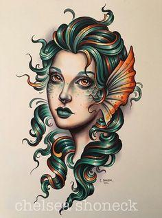Loving this gorgeous tattoo by 🧜♀️ . Traditional Mermaid Tattoos, Neo Traditional Tattoo, American Traditional, Tattoo Sketches, Tattoo Drawings, Body Art Tattoos, Mermaid Tattoo Designs, Tattoo Mermaid, Mermaid Mermaid