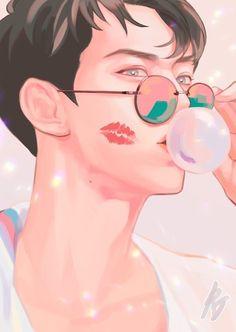 Sehun ~ Exo Anime, Anime Guys, Anime Art, Sehun, Exo Fanart, Cover Wattpad, Exo Lockscreen, K Pop Star, Fanarts Anime