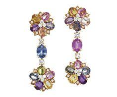 PAIR OF DIAMOND AND MULTI COLOURED SAPPHIRE 'FLORA' EARRINGS, BULGARI , 18CARAT GOLD.