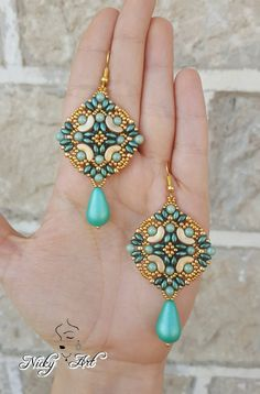 Earrings Majolica beading pattern by NickyArtGioielli on Etsy