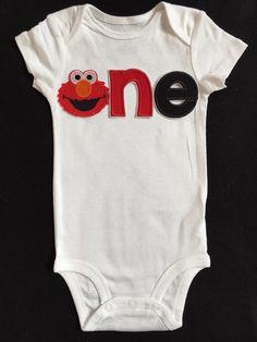 First Birthday Elmo embroidered Tshirt/Bodysuit by BabyTrendzz