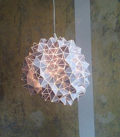 One of a kind Geodesic Hanging Light Sculpture Large 45cm