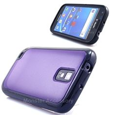 Click Image to Browse: $6.95 Purple Black Softgrip Hard Case Gel Cover For Samsung Galaxy S2 (Hercules T989) T-Mobile