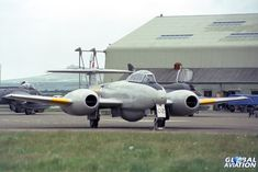 RAF Brawdy Open Day, 21 May 1981. 1 TWU Meteor T.7 WA669. Meteor T.7 WA669 was flown for some years after its RAF service as part of the 'Vintage Pair' with Vampire XH304. They were seen all over the UK at many airshows, until they suffered a mid-air collision whilst performing at RAF Mildenhall Air Fete 1986. - © Paul Filmer- Global Aviation Resource