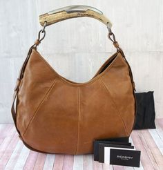 279e5486234 YVES SAINT LAURENT YSL Buffalo Large Mombasa Horn Hobo Bag Caramel Brown # YvesSaintLaurent #Hobo