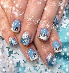 Penguin winter Christmas nail nailart