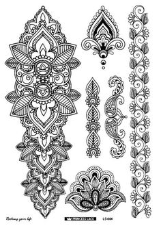 Cheap flower arm, Buy Quality tatoo indian directly from China tattoo sticker Suppliers: 2016 eco-friendly henna temporary body tatoo Indian mandala flower arm tattoo black lace tattoo sticker bracelet Arm Tattoos Black, Black Lace Tattoo, Large Tattoos, Neue Tattoos, Body Art Tattoos, Hand Tattoos, Sleeve Tattoos, Maori Tattoos, Tribal Tattoos