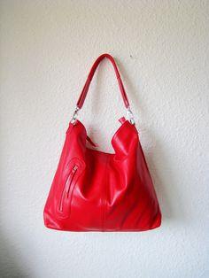 MAX LARGE RED---Adeleshop handmade clip on hobo laptop messenger satchel shoulder cross body bag. $150.00, via Etsy.