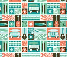 Summer Surf fabric by oliveandruby on Spoonflower - custom fabric