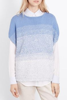 Blue and white marled ombre textured cocoon pullover by Vince. Wear alone, over a tank, or layered over a white blouse for a more tailored look.   Ombre Cocoon Pullover by Vince. Clothing - Sweaters Pennsylvania