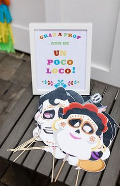 Disney Coco props for a photo booth in this Mexican fiesta Mexican Birthday Parties, 50th Birthday Party Decorations, First Birthday Parties, 2nd Birthday, First Birthdays, Birthday Ideas, Fiestas Party, Disney Birthday, Bunt