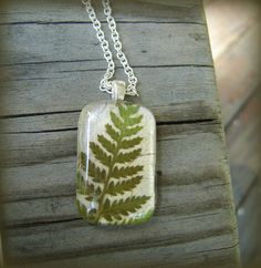 Necklace made with real fern leaf.