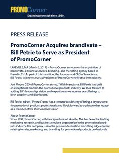 Breaking News: PromoCorner Acquires brandivate - Bill Petrie to Serve as President of PromoCorner