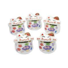 Jzcky Shzrp Ceramic Beads with Lucky Cat Pattern for Making Pendant Etc.(10pcs)(safety)