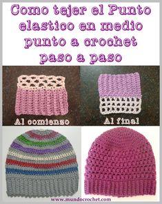 Cómo tejer el punto elástico en medio punto a crochet o ganchillo paso a paso