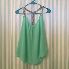 Mint Top with Silver Beaded Straps Like new! From smoke-free home. Tops Tank Tops