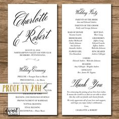 Wedding Program, Ceremony Program - PRINTABLE files - rustic wedding, garden wedding, simple and elegant, calligraphy, brush - Charlotte by DIVart on Etsy