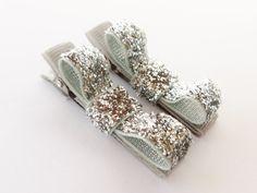 silver sparkle clipssmall 2 inch tuxedo hair by BowsForShow, $3.99