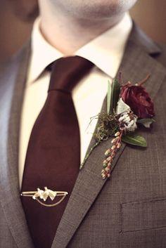 Very chic wine/burgundy groom attire! Perfect for winter.