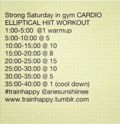 Elliptical workout - Strong Saturday i so got to try this one tomorrow morning!
