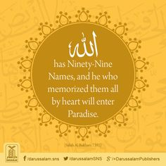 "Daily Hadith | Excellence of remembering 99 Names of Allah  Narrated Abu Hurairah: Allah's Messenger ﷺ said: ""Allah has ninety-nine Names, one-hundred less one; and he who memorized them all by heart will enter Paradise."" To count something means to know it by heart.  [Sahih Al-Bukhari, Book of Tawheed, Hadith: 7392]   #AsmaulHusna #Hadith"