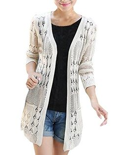 d2802dc30a Shawhuaa Womens Crochet Knitted Open Front Cardigan Pocke...  fashion   style
