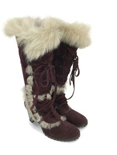 COACH Women s Boots Lucy Plum Suede Tall Lace Up Knee-Hi Fur Trimmed  Shearling 8 8ace20df4