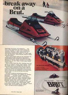 Vintage Snowmobile Ad Tuesday: Breaking Away On A Brut Clean Break, Snow Machine, Machine Design, Snowmobiles, Vintage, Vintage Comics