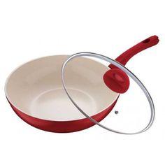 Panvica wok keramická s pokrievkou  28x8cm  BLAUMANN. Keramická panvica wok značky Blaumann so sklenenou pokrievkou je vyrobená z tvrdeného hliníka a pokrytá 2 vrstvami nepriľnavej keramiky. Rozmer 28x8cm. Farba vnútorná: biela. Farba vonkajšia: červená. BL-1042.