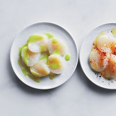 In this quick, elegant recipe, thinly sliced raw scallops are topped with a flavorful sauce of lime juice, wasabi and fresh ginger.