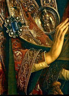 Jan van Eyck, detalle de la tabla de los ángeles, políptico del Cordero Místico, acabado en 1432, catedral de San Bavón de Gante. - Pintura Flamenca.